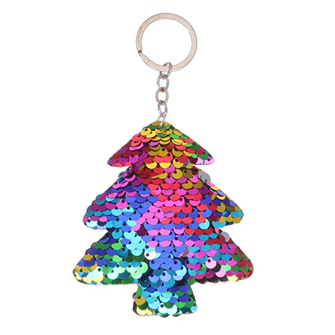 FENICAL llavero de lentejuelas llavero de árbol de navidad ...