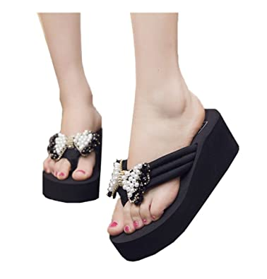 7e09893eb65b6 Always Pretty Women s Beaded Bowknot Wedges Platform Sandals Flip Flop  Black 5 B(M)