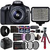 Canon EOS 1300D 18MP DSLR Camera + 18-55mm + 58mm Filter Kit + UV CPL ND Filter Kit + Rubber Hood + Two 16GB Memory Card + Holder + Reader + Led Video Light + Case + Flexible Tripod + 3pc Cleaning Kit
