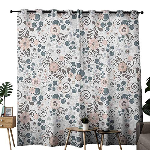(duommhome Floral Breathable Curtain Flourishing Soft Toned Blooms Artistic Growth Feminine Petal Illustration 70%-80% Light Shading, 2 Panels,W96 x L108 Pearl Rose Slate Blue)