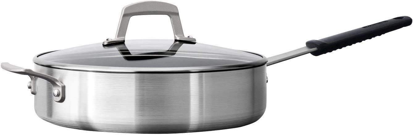 Tramontina 80114/614 Professional Aluminum Nonstick Covered Deep Saute Pan, Glass Lid, 5.5-Quart, Satin Finish, Made in USA, NSF-Certified