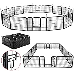 """Yaheetech 24"""" Tall Heavy Duty Metal Pet Dog Puppy Cat Exercise Fence Foldable Barrier Playpen Kennel, 16 Panels"""