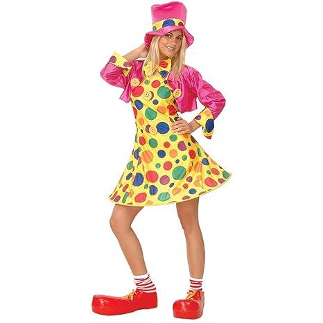 93d316d136 Wicked - Vestito di carnevale da donna, motivo clown del circo a pois,  taglia