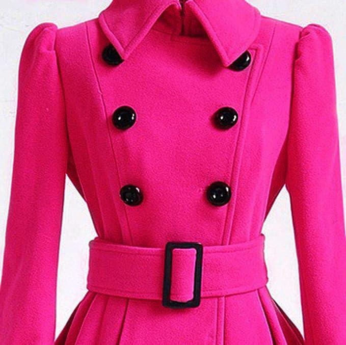 Rovinci☆ Abrigos de Invierno Cálido Elegante Trench de Lana Parka Chaqueta Cinturón Cinturón Apretar Botón Abrigo Outwear: Amazon.es: Ropa y accesorios
