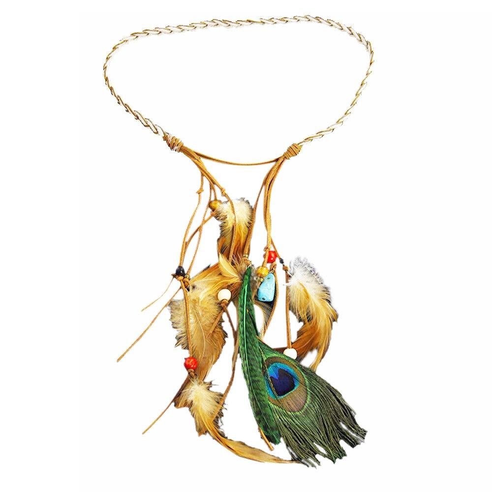 BODYA Fashion Indian Exotic Boho Vacation Turquoise Bead Feather Leather Navajo Zuni Headband Hair Dress Band Belt Tie JW2608