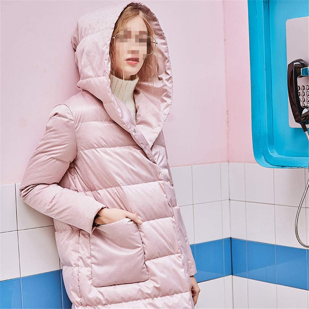Dotoo Women White Duck Down Fashion Warm Hooded Loose Waterproof Long Down Jacket
