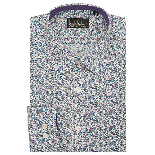 Nicole Miller Boy's Button-Up Shirt, Purple/Blue, 18 (Nicole Oxford)
