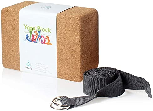 Ultrafy Yoga Blocks Bricks, Water-Resistant, Support Bricks with Exercise Strap for Better Positions Stretching Yoga Accessories
