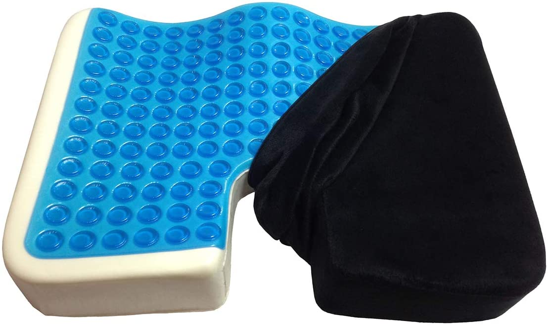 Kieba Coccyx Seat Cushion, Cool Gel Memory Foam Large Orthopedic Tailbone Pillow for Sciatica, Back, and Tailbone Pain (Black)