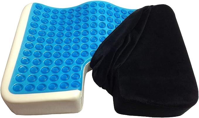 Kieba Coccyx Seat Cushion, Cool Gel Memory Foam Large Orthopedic Tailbone Pillow for Sciatica, Back, and Tailbone Pain (Black)