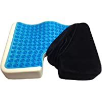 Kieba Coccyx Seat Cushion Cool Gel Memory Foam Large Orthopedic Tailbone Pillow for Sciatica Back and Tailbone Pain (Black)
