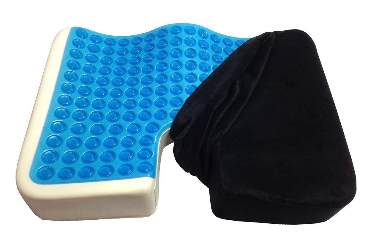 Kieba Coccyx Seat Cushion, Cool Gel Memory Foam Large Orthopedic Tailbone Pillow for Sciatica, Back, and Tailbone Pain (Black) by Kieba
