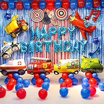 Transportation Party Supplies Vehicle Balloons Set(Truck Ambulance Police  Car School Bus Fire