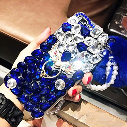 Alcatel Fierce 4 Case,Alcatel Allura Case,Alcatel Pop 4 Plus Full Crystal Diamond Case, Finger Buckle Luxury Fur Ball Sparkle Crystal Rhinestone Diamond Glitter Bling TPU Case (Angel/Blue)