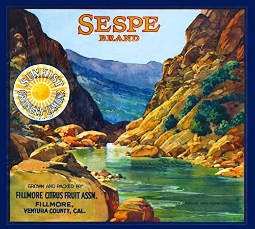 A SLICE IN TIME Fillmore, Ventura County Sespe Orange Citrus Fruit Crate Box Label Art Print Travel Advertisement Poster