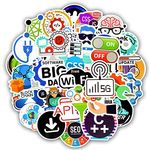 50 PCS Programming Language Stickers Internet HTML Software Waterproof Sticker for Geek Hacker Developer to DIY Laptop Phone Car
