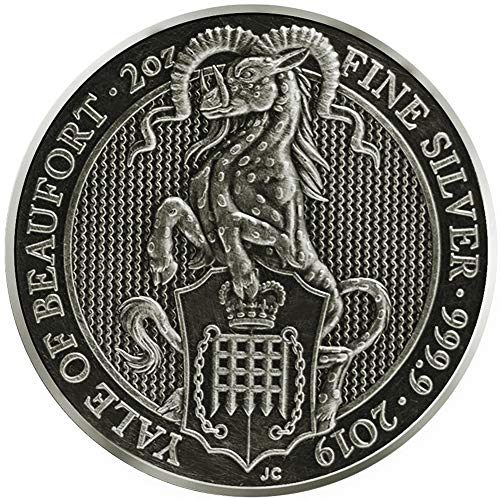 (2019 GB Queen Beasts Finish PowerCoin YALE Queen Beasts Antique Finish 2 Oz Silver Coin 5£ United Kingdom 2019 BU Brilliant Uncirculated)