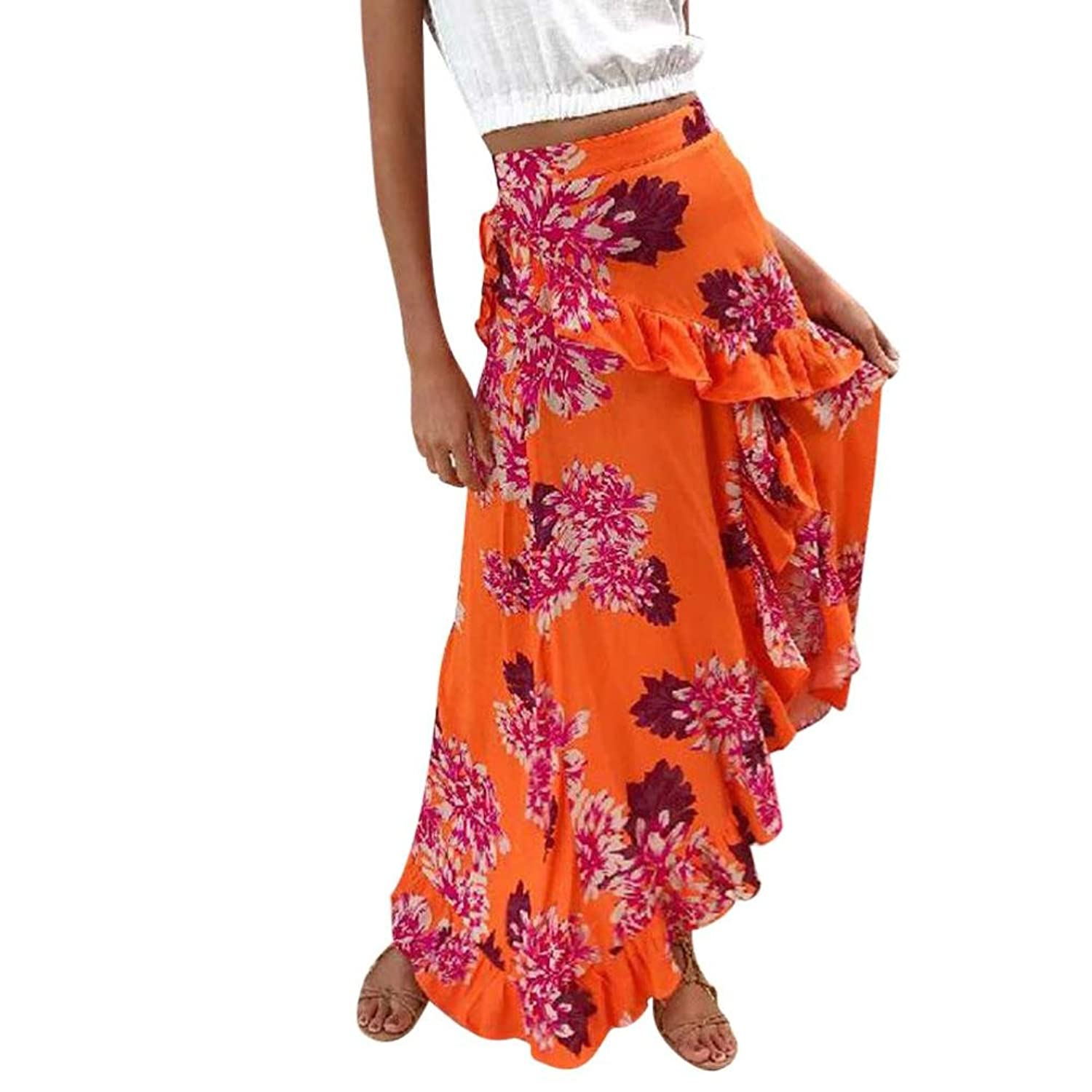 HHei_K Women Spring Fashion New Floral Printing Irregular Folds Ruffle Split Long Skirt