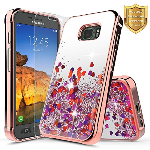 Galaxy S7 Active Case with [Tempered Glass Screen Protector] NageBee Quicksand Liquid Floating Glitter Flowing Sparkle Bling Luxury Clear Soft Case for Samsung Galaxy S7 Active SM-G891A (Rose Gold) ()