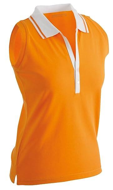 d367a78dd11f00 James   Nicholson JN159 Ladies Stretch Sleeveless Polo Shirt orange white Size  S