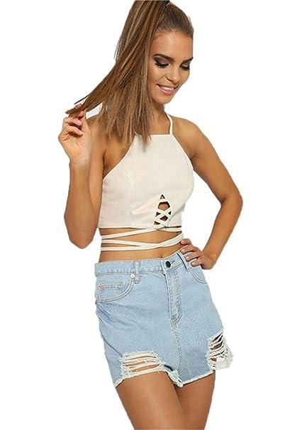 Camiseta estilo sujetador con cordones y cremallera Weiß XL: Amazon.es: Ropa y accesorios