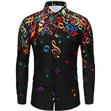 NIUQI Men Novelty Musical Note Blouse Casual Pattern Long Sleeves Shirt Top Blouse