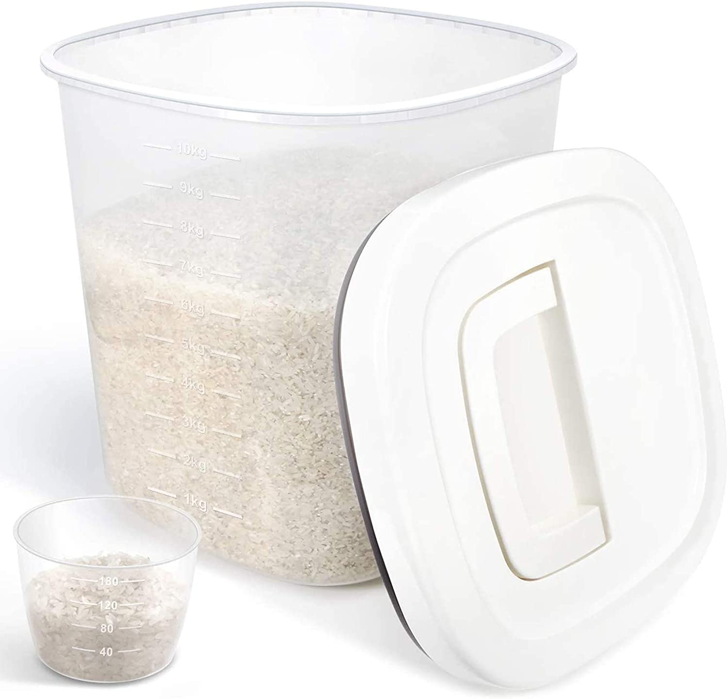 ODOM Airtight BPA Free Plastic Food Storage Container with Seal Lid + Measuring Cup, 10L 20Lbs Pantry Storage Container for Dry Food Cereal Flour Rice Sugar, Dog Food etc, Kitchen Storage Container