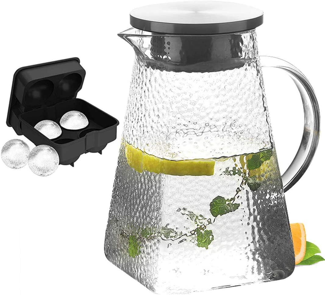 Diamond Pattern Glass Pitcher with Lid&Spout - 68 Ounces Cold and Hot Water Carafe with Unique Diamond Pattern, Beverage Pitcher for Homemade Iced Tea and Juice