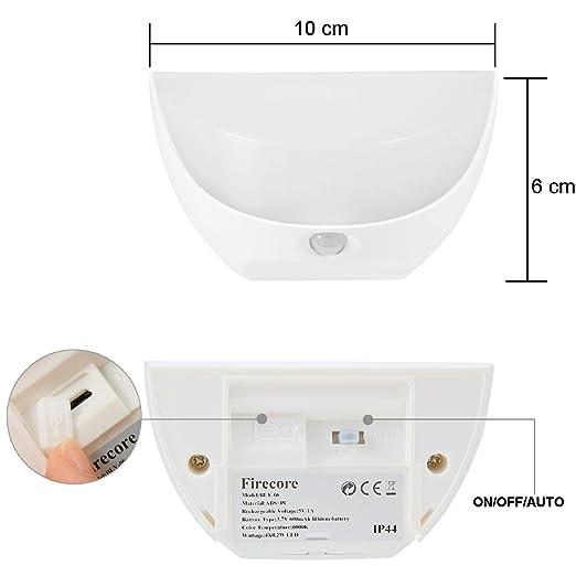 LED Luz Sensor Luz de noche inducción de Movimiento Focos para Pared Exterior Impermeable USB carga: Amazon.es: Hogar