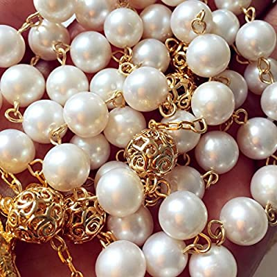 White Real Pearl Rose Gold Beads Catholic Rosary Cross Necklace Supper Box: Arts, Crafts & Sewing