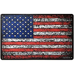 "This Well Defend American Flag Sign 10"" x 16"" Tin Metal USA Patriotic Home Decor Garage Shop Office Man Cave America Accessories Gifts for Men"