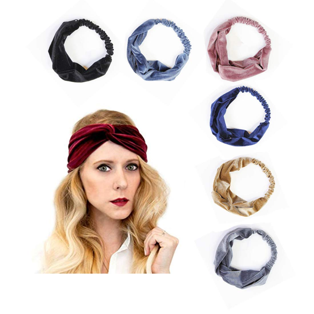 Headbands for Women Velvet Elastic Headband,7 Pcs Women's Adjustable criss cross head wrap hair band Twisted Soft Turban Band Headwrap Hair Accessories