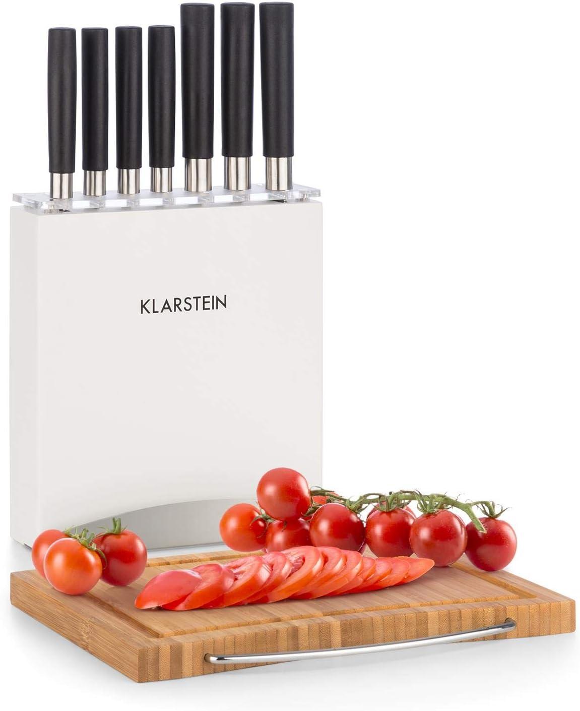 Klarstein Kitano Juego de cuchillos - Juego de 9 piezas con bloque de madera y tabla de cortar de bambú, 7 cuchillas de precisión en diseño japonés, Blanco