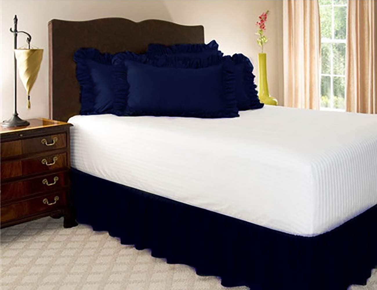 ShiyiUP Bed Skirts with Solid Color Ruffle Wrap Around The Bed