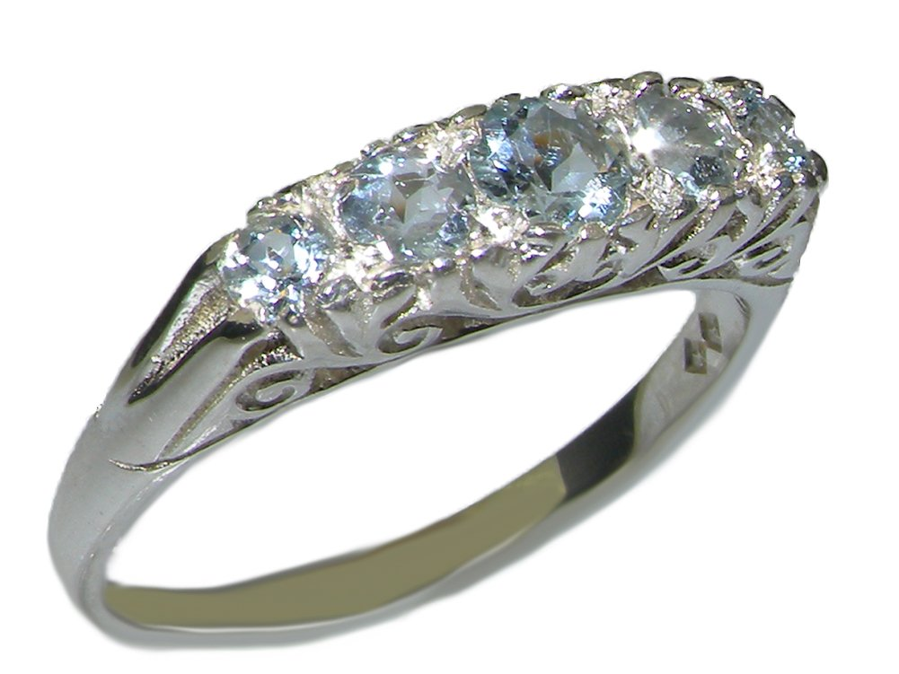 925 Sterling Silver Natural Aquamarine Womens Promise Ring - Size 5.5