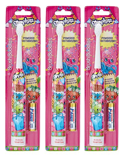 Shopkins Brush Buddies Kid's Battery Powered Toothbrushes – Set of 3 – Batteries Included