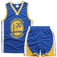 Sokaly Garçon Fille Basket Maillots Curry#30 Jorden#23 Harden#13 Boston#11 Basketball Jersey T-Shirt et Short Sportwear Ensemble pour Enfant Teenager (Taille 100-180cm)
