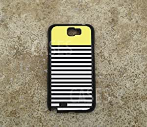 Galaxy Note 2 Case Cover, Yellow Top Black White Stripes Best Unique Custom C...