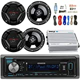 Kenwood KDCBT21 Car CD Player Receiver Bluetooth USB AUX Radio - Bundle Combo With 4x JVC CSDR620 6.5 Inch 300-Watt 2-Way Black Audio Coaxial Speakers + + 4-Channel Amplifier + Amp Kit