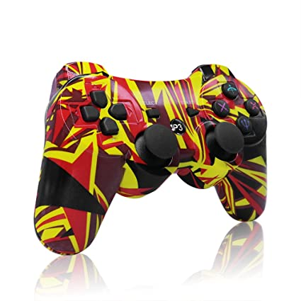 Amazon ps3 controller wireless bluetooth double shock ps3 controller wireless bluetooth double shock playstation 3 remote ps3 gamepad for sony ps3 flame negle Choice Image