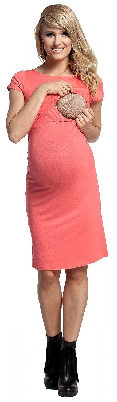 Happy Mama Short Sleeves Womens Maternity Nursing Layered Pencil Dress 971p