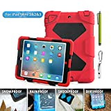 ACEGUARDER 5023729 Ipad mini case,Olg Tech designnew products iPad mini 1&2&3 case [snowproof] [waterproof] [dirtproof] [shockproof] cover case with stand Super protection for kids Extreme Duty Dual Protective Back Cover Case Carabiner + whistle + handwri
