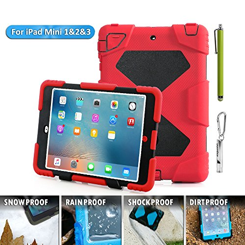 ACEGUARDER 18M980Ipad mini case, Aceguarder designnew products iPad mini 1&2&3 case [snowproof] [waterproof] [dirtproof] [shockproof] cover case with stand Super protection for kids Extreme Duty Dual Protective Back Cover Case Carabiner + whistle + handwr by ACEGUARDER