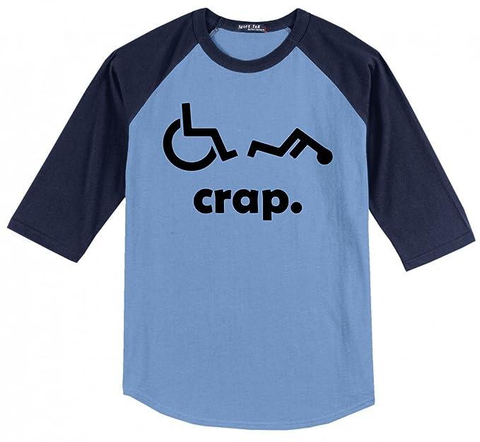 8a595a18a1 Comical Shirt Men's Crap Handicap Funny Wheelchair T Shirt Disabled  Carolina Blue/Navy S
