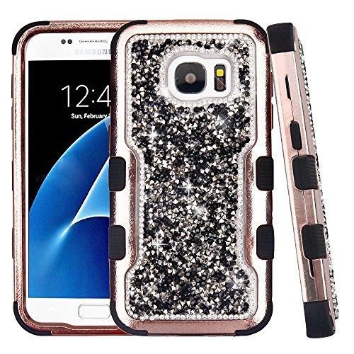 Galaxy S7 Case, Mybat Tuff Dual Layer [Shock Absorbing] Protection Hybrid Rhinestone Diamond Bling PC/Silicone Case Cover For Samsung Galaxy S7, Black/Rose (Mybat Rhinestones)