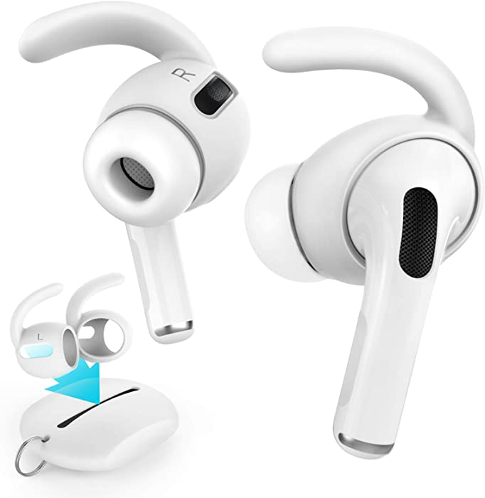 AhaStyle 3 Pairs AirPods Pro Ear Hooks [Added Storage Pouch] Anti-Slip Ear Covers Accessories【Not Fit in The Charging Case】 Compatible with AirPods Pro (White)