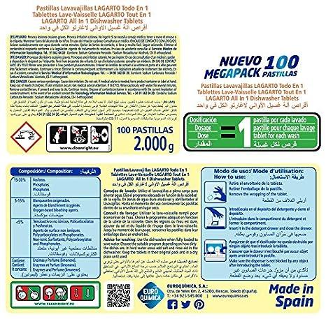 Lagarto Lavavajillas Máquina - 100 Pastillas: Amazon.es: Amazon Pantry