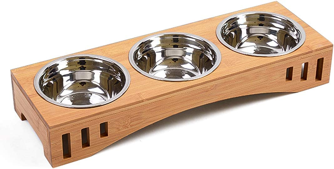 Companet Multiple Cat Elevated Bowls Dog Raised Bowl Stainless Cat Feeder with Bamboo Stand Pet Food Feeding Cats Puppy