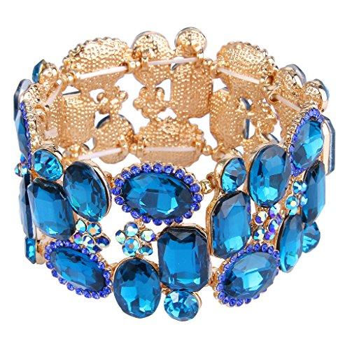 EVER FAITH Women's Rhinestone Crystal Fashion Flower Party Elastic Stretch Bracelet Royal Blue Gold-Tone (Party Crystal)