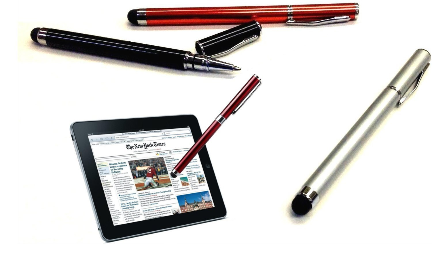 PRO ZTE Solar Custom High Sensitivity Touch Stylus + Writing Pen with Ink! [3 Pack - Silver Red Black]
